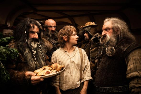 (L-r) WILLIAM KIRCHER as Bifur, GRAHAM McTAVISH as Dwalin, MARTIN FREEMAN as Bilbo Baggins, JAMES NESBITT as Bofur and JOHN CALLEN as Oin in the fantasy adventure THE HOBBIT: AN UNEXPECTED JOURNEY